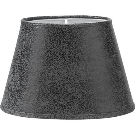 Lampeskjerm oval  i gråsvart lær